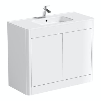 Mode Purity ice white floor mounted vanity unit with basin 1000mm