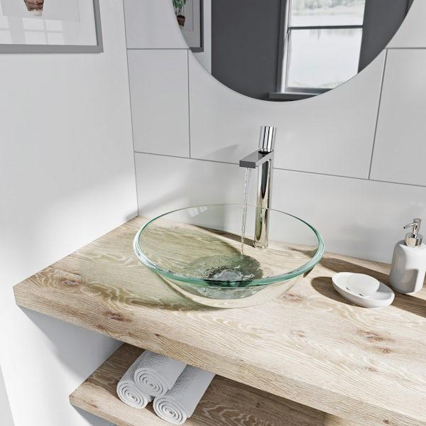 Mode Mackintosh clear glass countertop basin