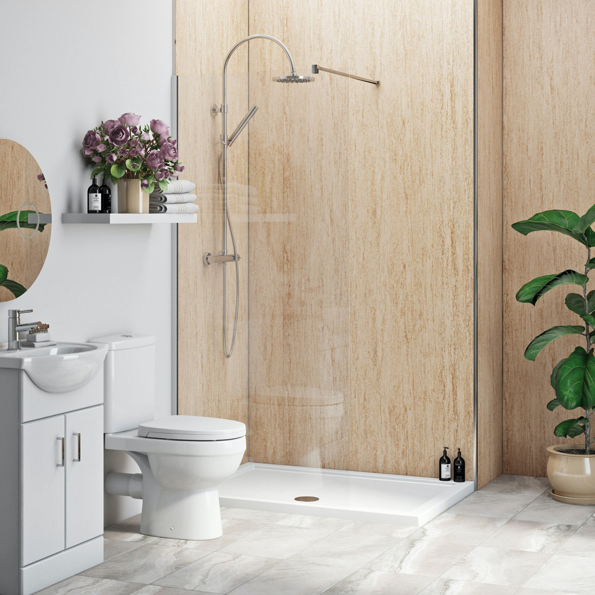 Multipanel Economy Aruban Sand matt shower wall 2 panel pack