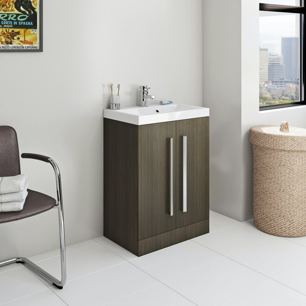 Orchard Wye walnut furniture package with vanity unit 600mm