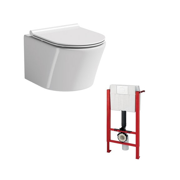 Mode Tate wall hung toilet with slim soft close seat and wall mounting frame