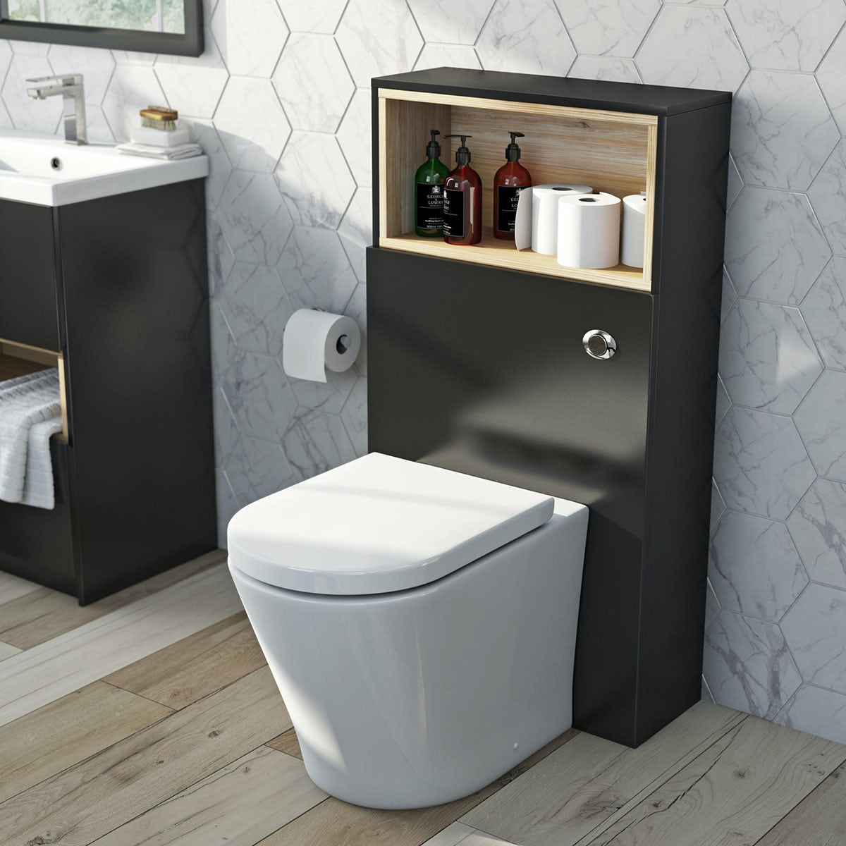 Mode Tate Anthracite Oak Back To Wall Toilet Unit