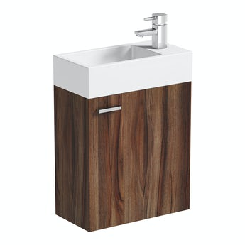 Walnut cloakroom wall hung unit with resin basin 410mm