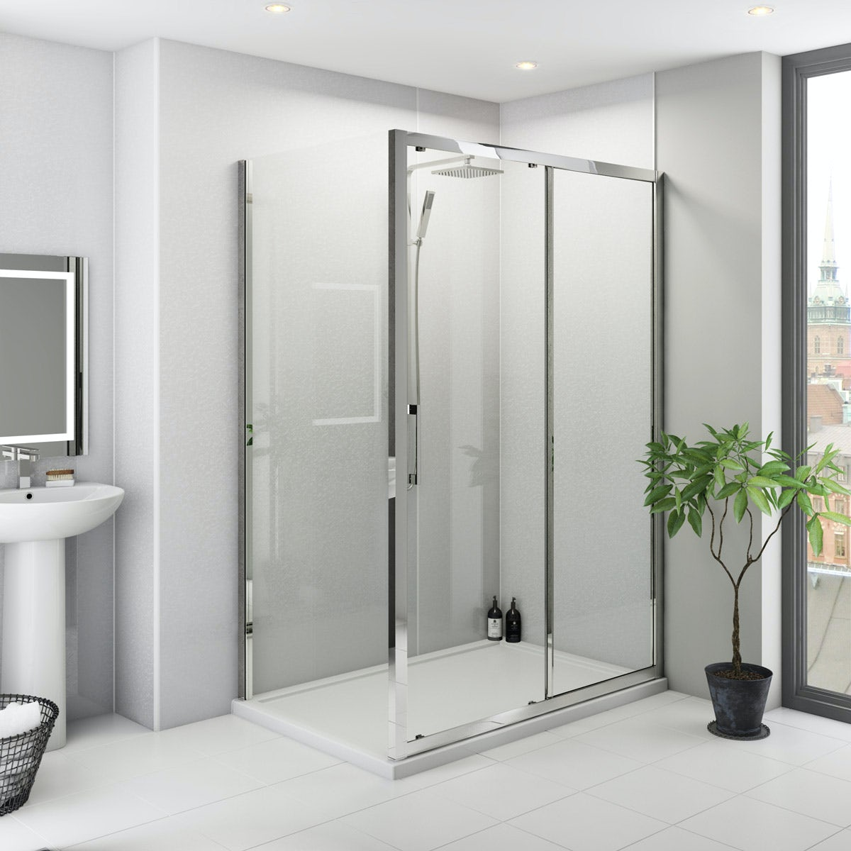 Multipanel Classic Frost White unlipped shower panel 1200