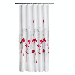 Floral white and pink polyester shower curtain