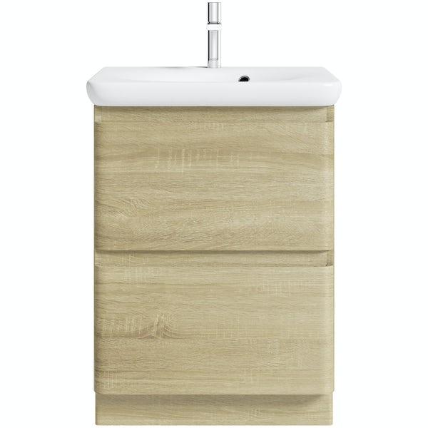 Mode Heath oak floor standing unit and basin 600mm