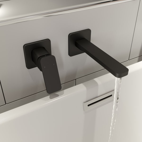 Mode Spencer square wall mounted black bath mixer tap offer pack