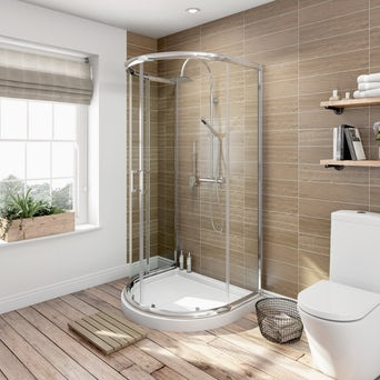 6mm D Shaped Shower Enclosure with Shower Tray