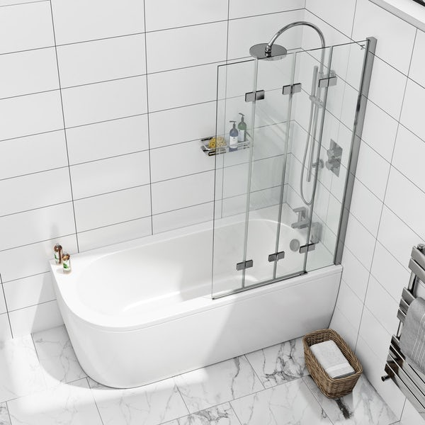 Mode 6mm frameless right handed 4 screen folding hinged bath screen offer pack