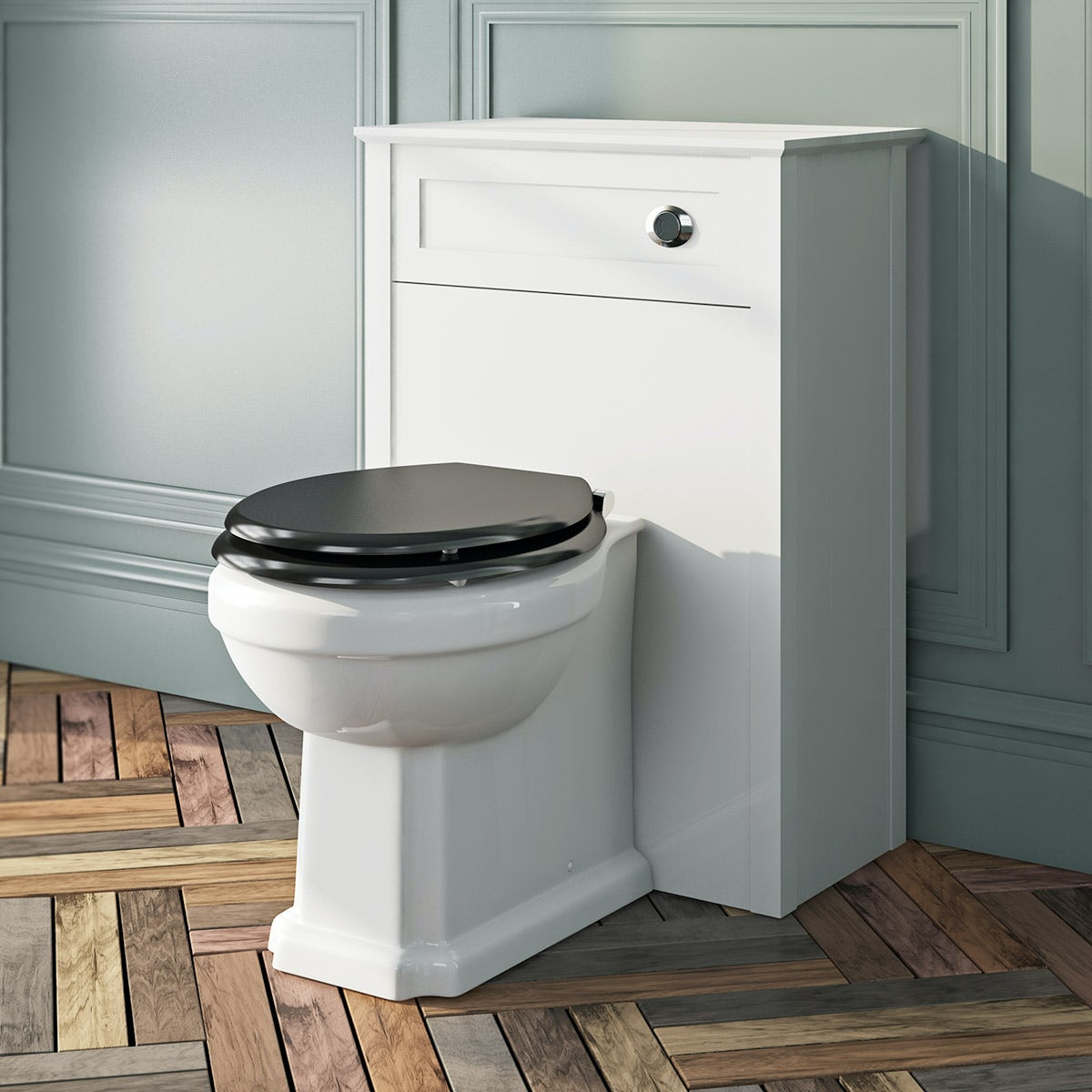 black wooden soft close toilet seat. Camberley back to wall toilet with black wooden soft close seat The Bath Co