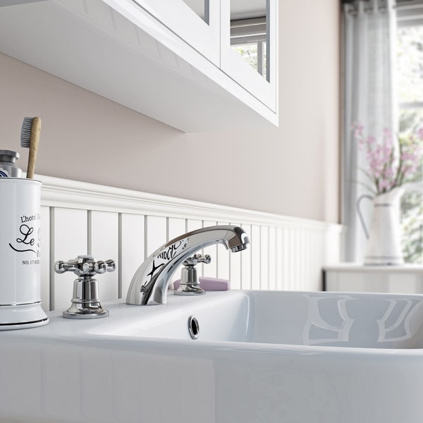 The Bath Co. Camberley 3 hole basin mixer tap offer pack