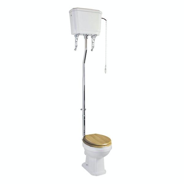 The Bath Co. Cromford high level toilet inc oak soft close seat