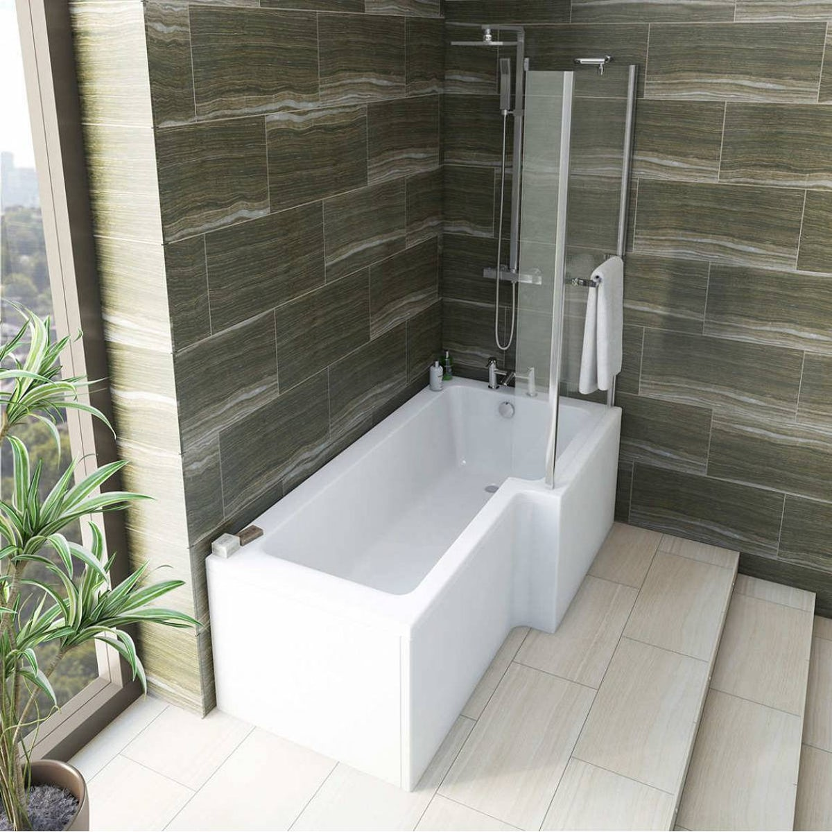 Mode Tate Bathroom Suite With Right Handed L Shaped Shower