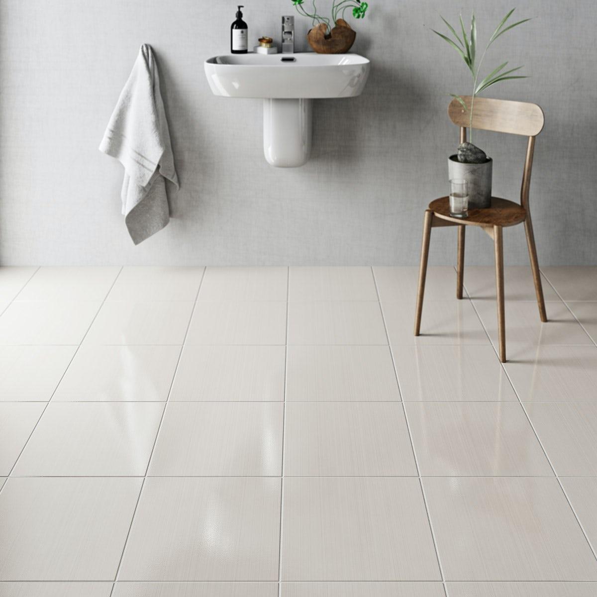 British Ceramic Tile Linear sand beige gloss tile 331mm x 331mm