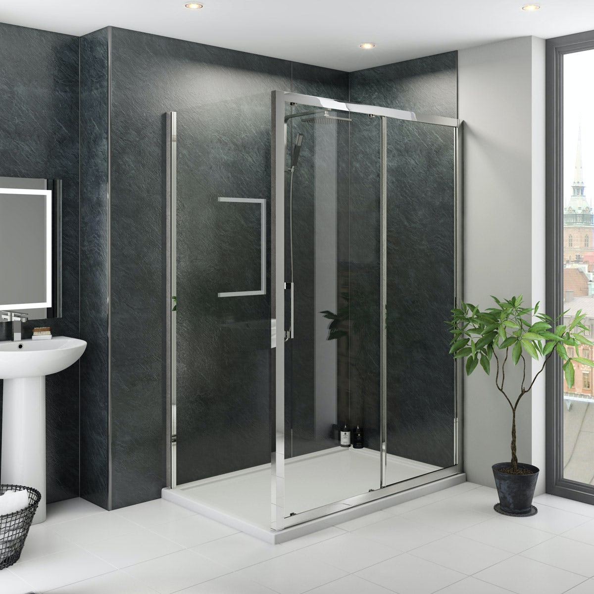 Multipanel Classic Riven Slate unlipped shower wall panel 2400 x 1200