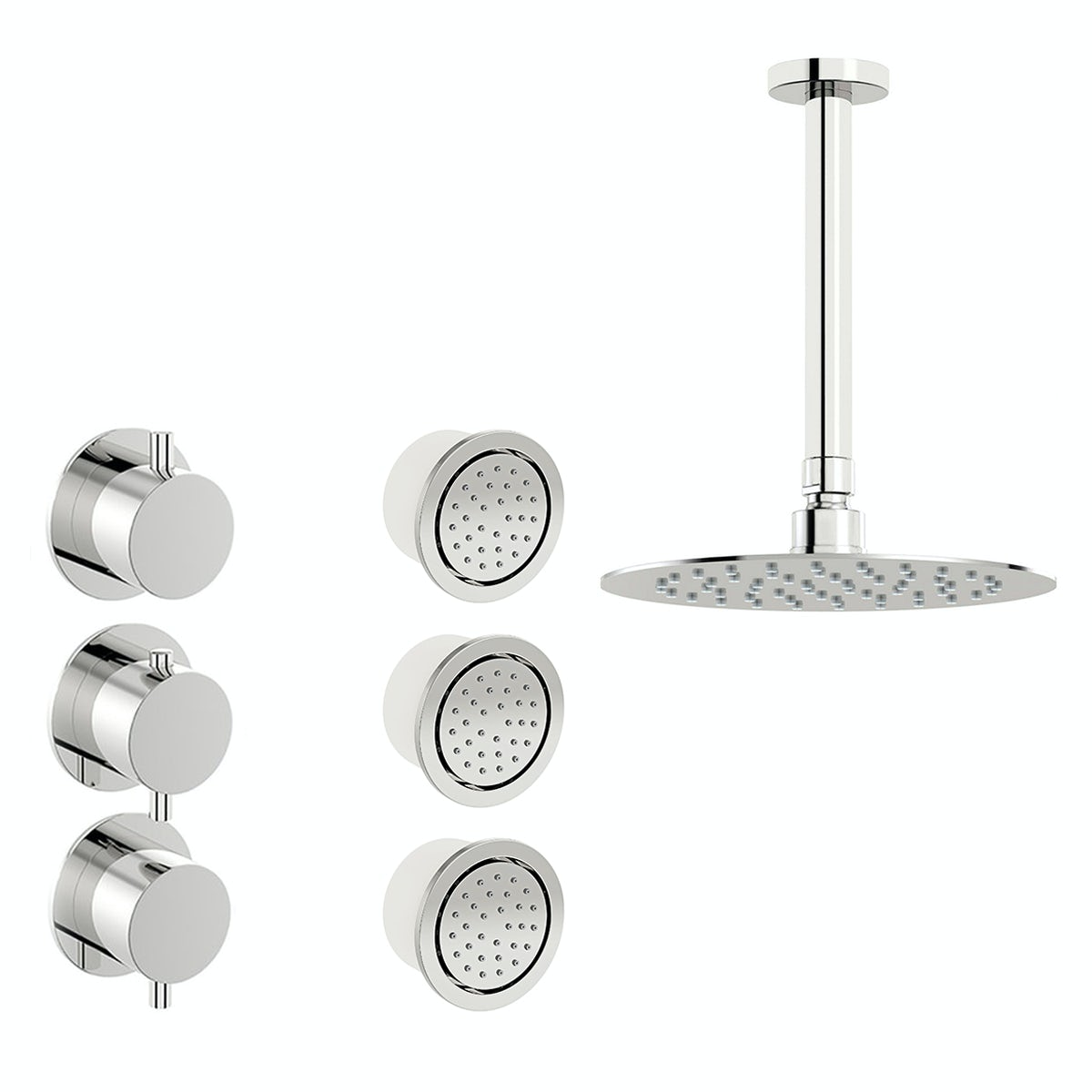 Mode Hardy thermostatic shower valve with body jets and ceiling shower set
