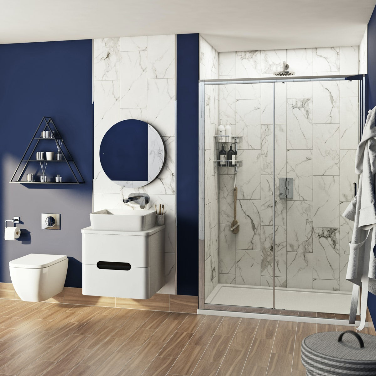 Mode Ellis complete bathroom suite with shower door, tray, shower and taps 1000mm - Sold by Victoria Plum