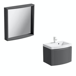 Harrison slate wall hung vanity unit and mirror offer