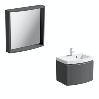 Mode Harrison slate wall hung vanity unit 600mm and mirror