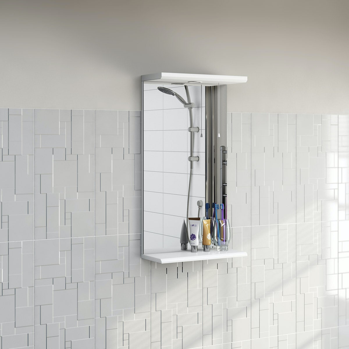 white bathroom mirror with shelf. priced to clear sienna white bathroom mirror with lights 410mm shelf