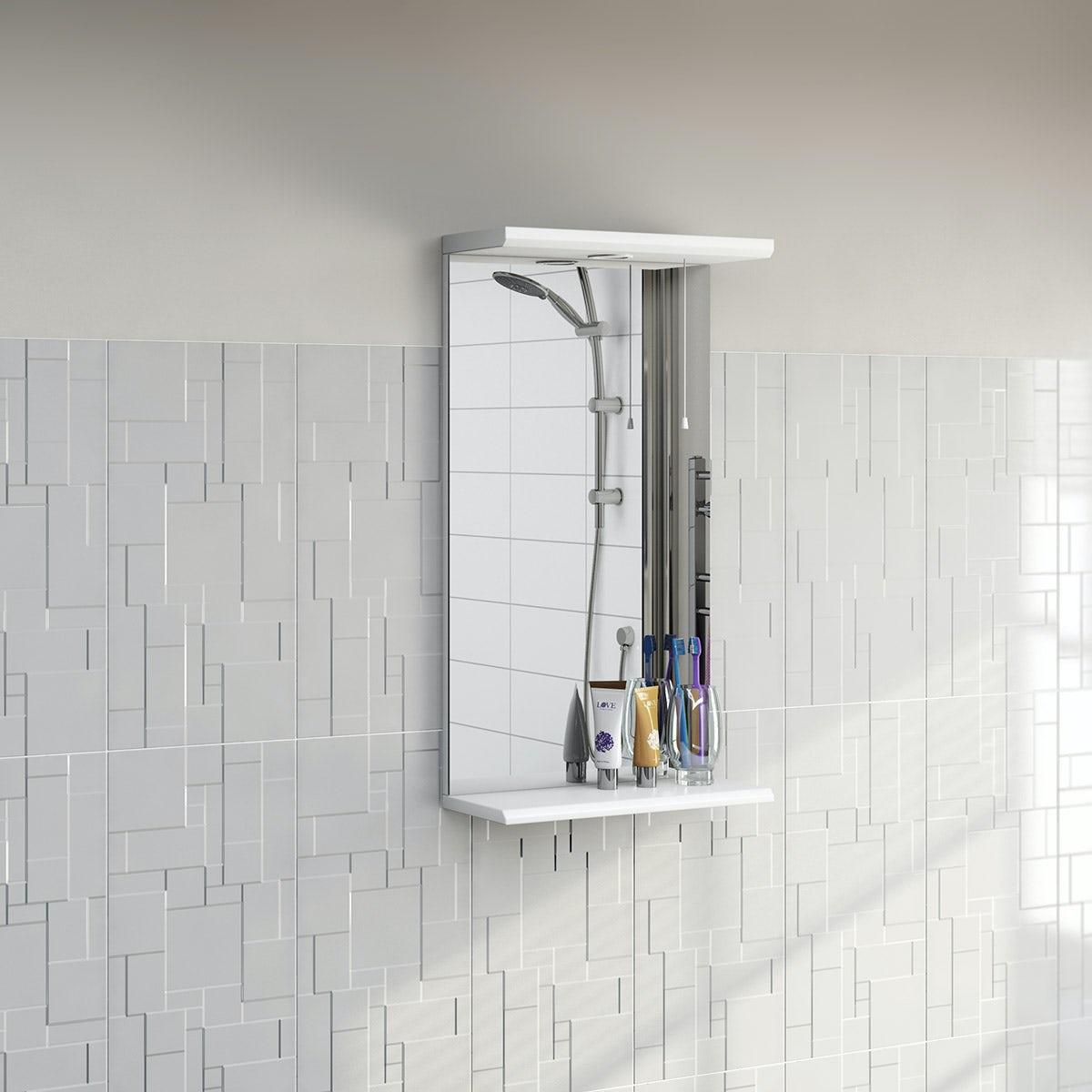 Sienna white bathroom mirror with lights 410mm