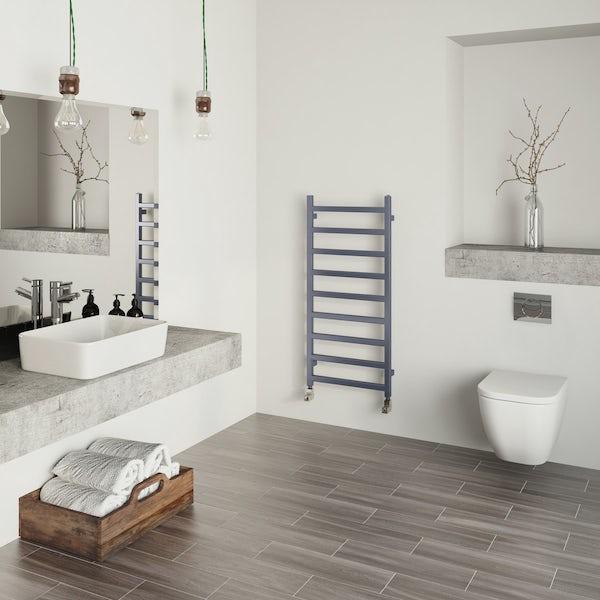 Terma Simple pigeon blue heated towel rail 1080 x 500