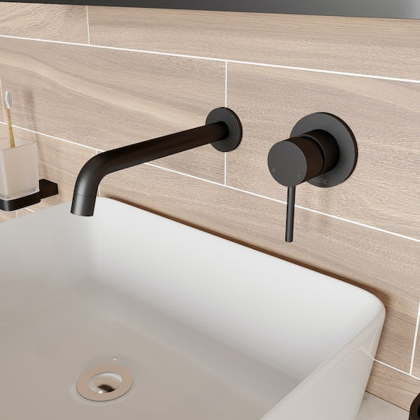Mode Spencer round wall mounted black basin mixer tap | VictoriaPlum.com