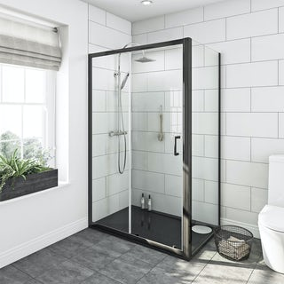 Mode premium black 6mm shower enclosure with black left handed tray 1200 x 800