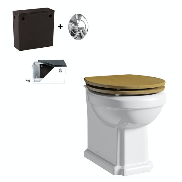 The Bath Co. Dulwich back to wall toilet with oak effect soft close seat and concealed cistern