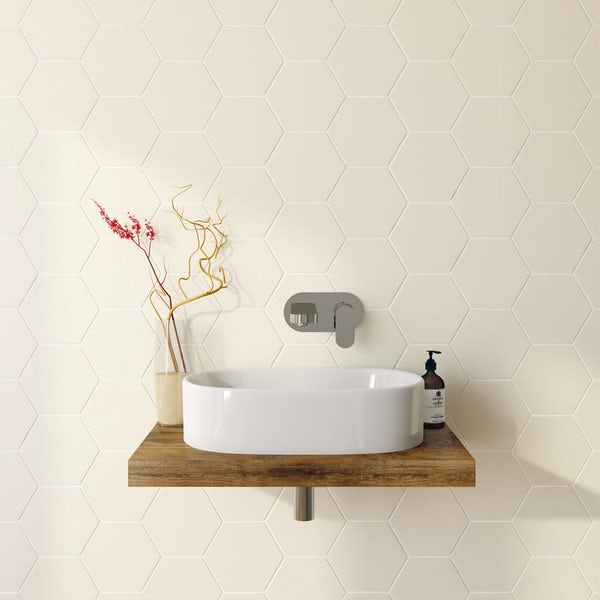 British Ceramic Tile Hex cream matt tile 175mm x 202mm