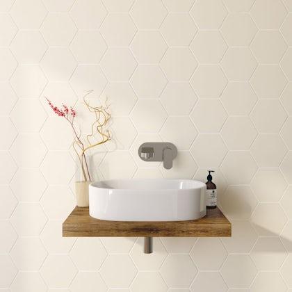 British Ceramic Tile Hex cream matt tile 175mm x 202mm