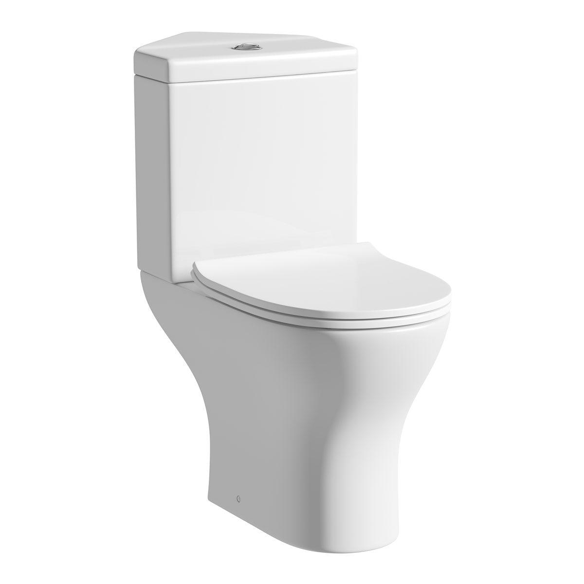 Derwent Round corner close coupled toilet with slimline soft close toilet seat