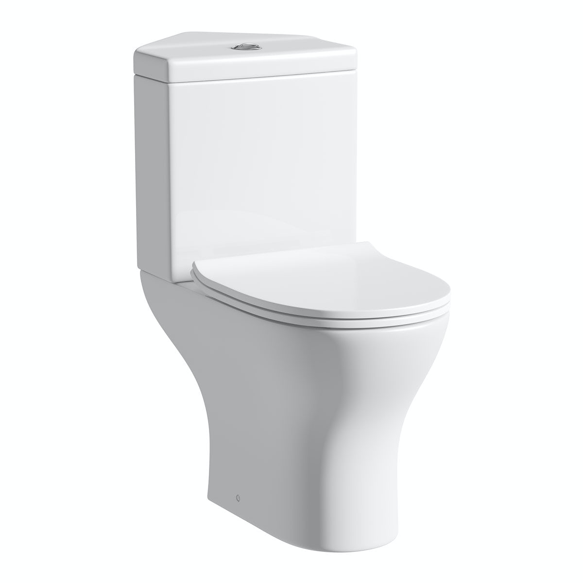 Orchard Derwent round compact corner close coupled toilet with slimline soft close toilet seat with pan connector