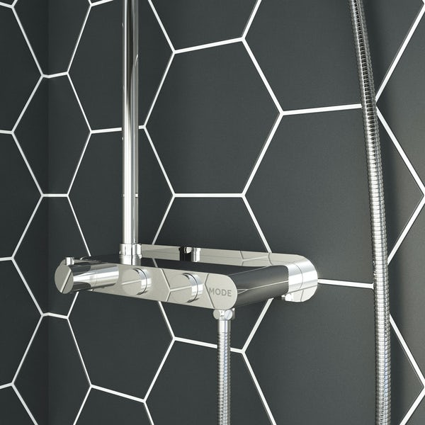 Mode Foster twin thermostatic push button shower valve with diverter