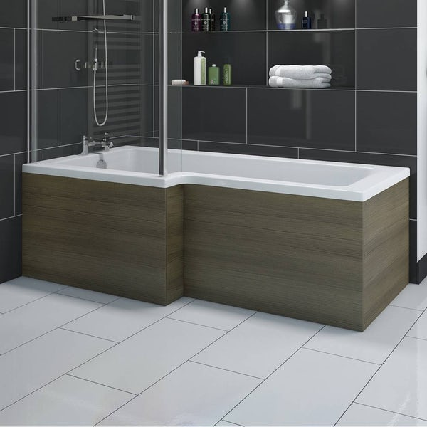 L shaped shower bath wooden front panel drift walnut for Small baths 1500