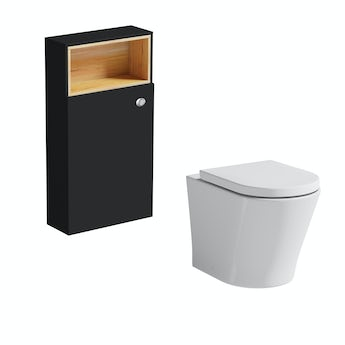 Mode Tate anthracite and oak slimline back to wall toilet unit and Arte toilet with seat