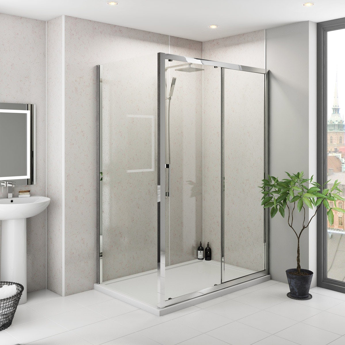 Multipanel Classic Beige Eiger unlipped shower wall panel 2400 x 1200