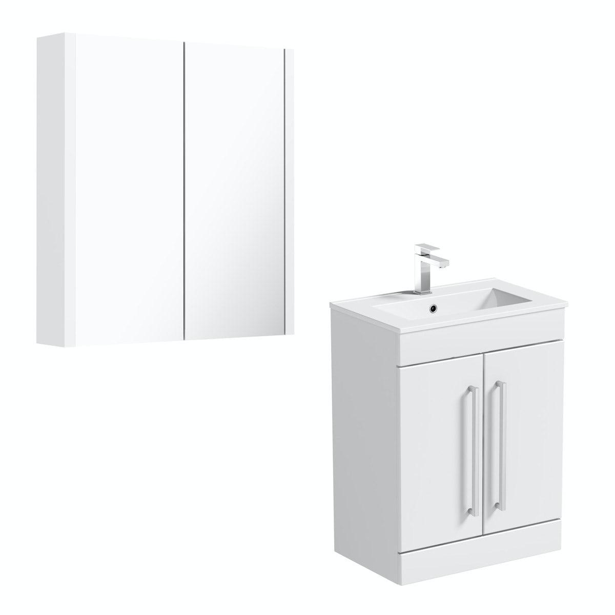 Orchard Derwent white floor door unit 600mm and mirror