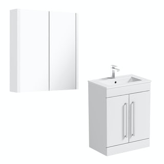 Orchard Derwent white floor door unit 600mm and mirror