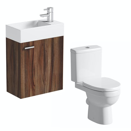 Clarity Compact walnut wall hung cloakroom suite with contemporary close coupled toilet