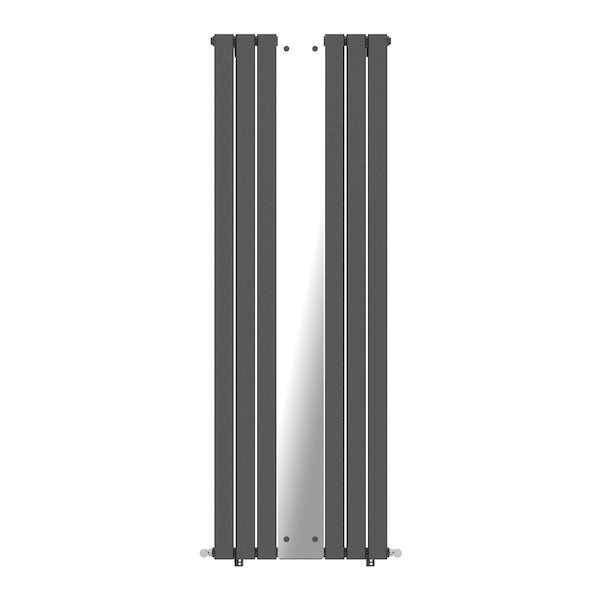 Mode Ellis anthracite vertical radiator with mirror 1840 x 620 offer pack
