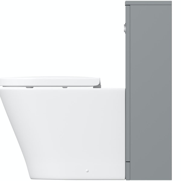 Clarity satin grey back to wall unit with contemporary toilet and soft close seat