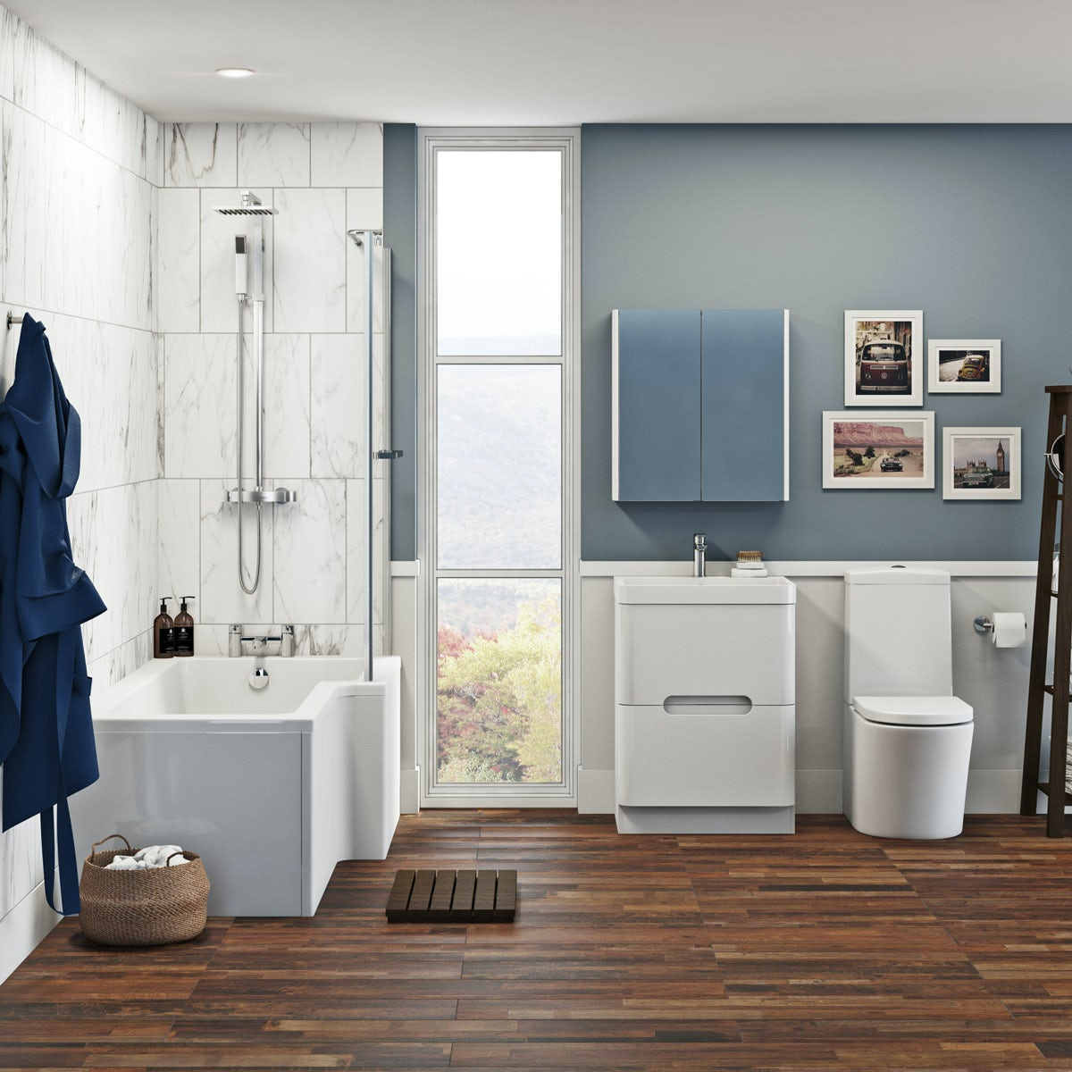 Mode Tate bathroom suite with right handed shower bath with white drawer unit