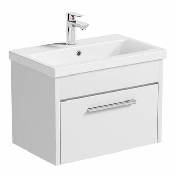 Clarity white wall hung vanity drawer unit with basin 600mm