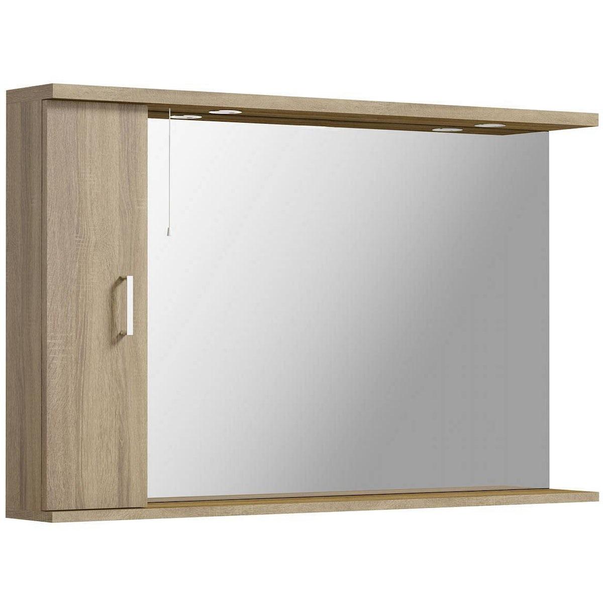 Sienna Oak 120 Mirror With Lights