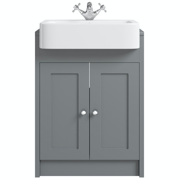 The Bath Co. Dulwich stone grey semi recessed vanity with basin 600mm