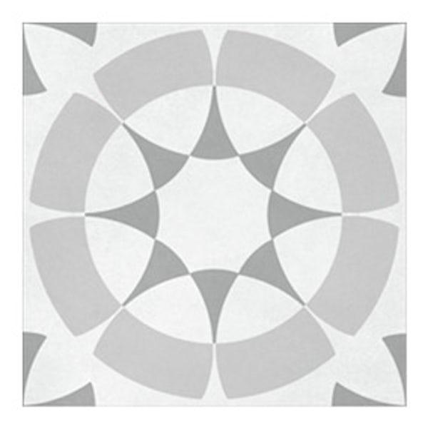 British Ceramic Tile Patchwork pattern grey matt tile 142mm x 142mm