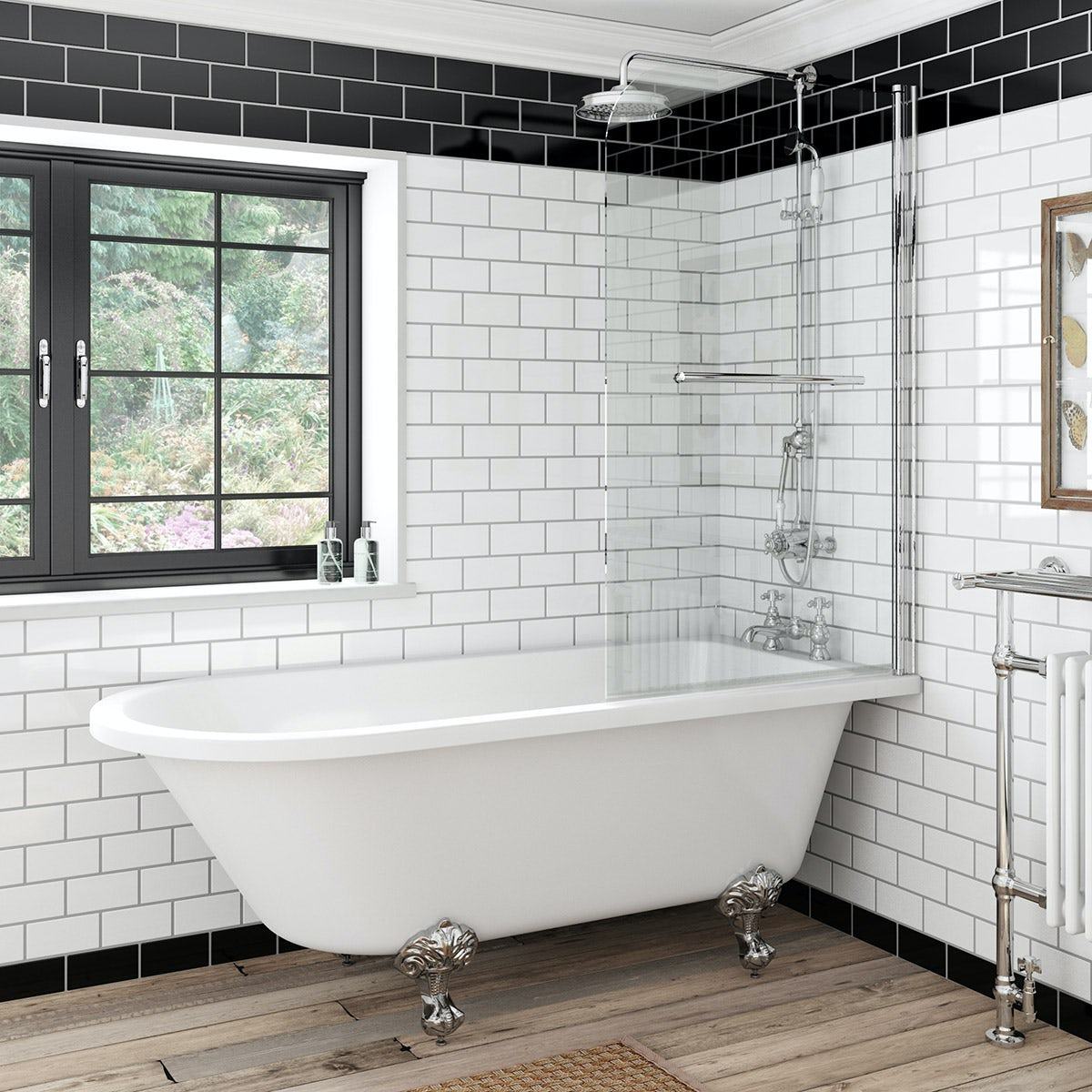 the bath co dulwich freestanding shower bath and bath screen with rail. Black Bedroom Furniture Sets. Home Design Ideas