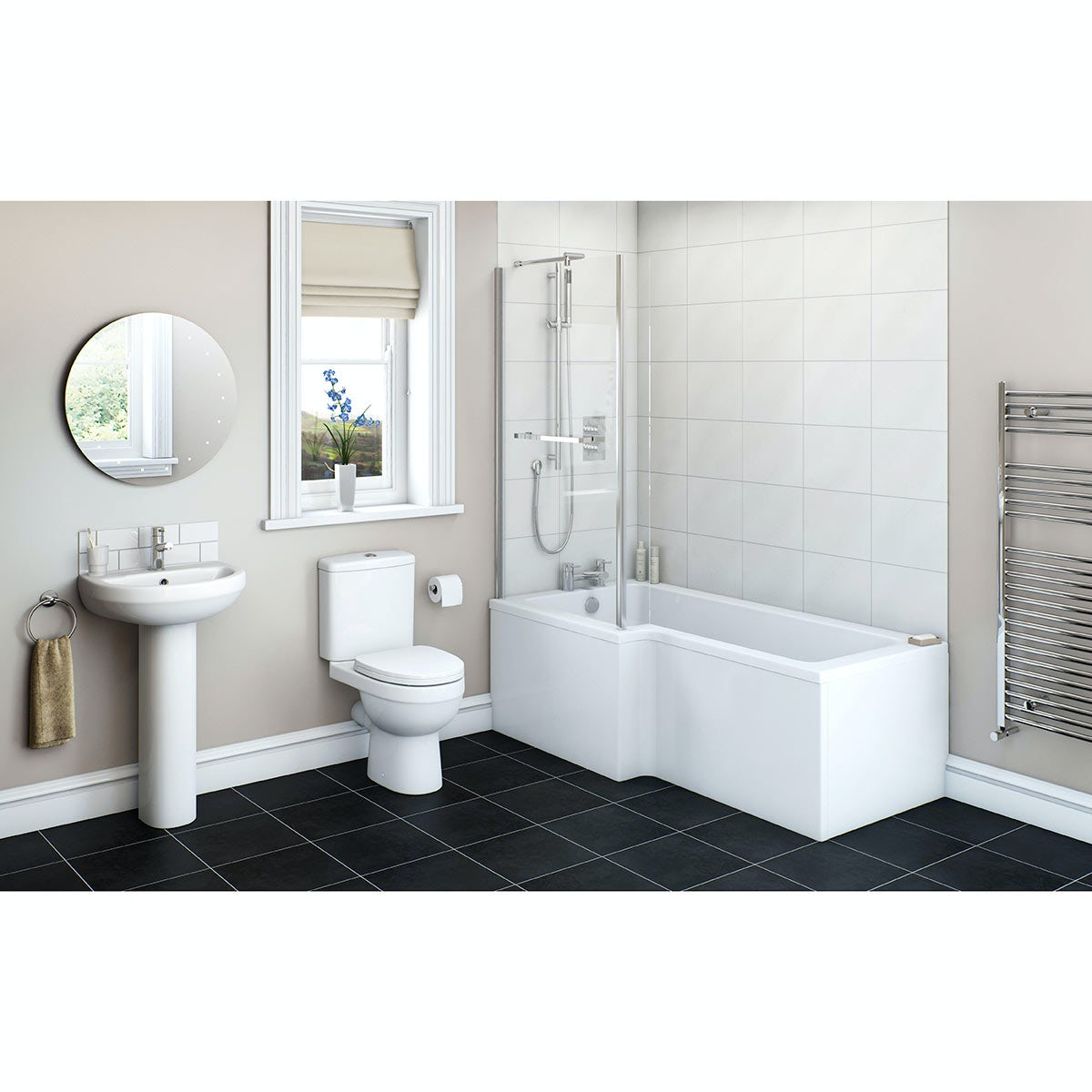 Orchard Eden bathroom suite with left handed L shaped shower bath 1700 x 850