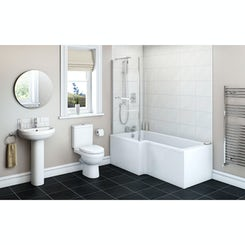 Energy bathroom suite with left handed Boston L shaped shower bath 1700 x 850